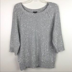 Ann Taylor | Grey Silver Sequined Sweater Top L